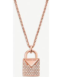 Michael Kors Kors Candy Rose Gold-plated Pave Embellished Padlock Necklace - Metallic