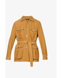 Oscar Jacobson Westwood Patch-pocket Cotton And Linen-blend Jacket - Metallic