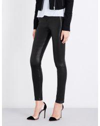 J Brand Maria Skinny Leather Jeans - Black