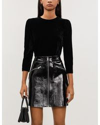 Maje Zip-detail Patent-leather Skirt - Black