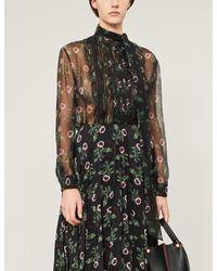 Valentino High-neck Ruffled Floral-print Silk-chiffon Shirt - Black