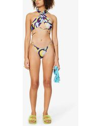 Jaded London Abstract-print Low-rise Stretch-recycled Polyester Bikini Bottoms - Multicolour