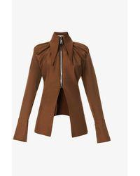 16Arlington Paria Asymmetric-hem Stretch-crepe Shirt - Brown