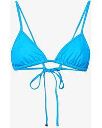 The Attico Triangle Bikini Top - Blue