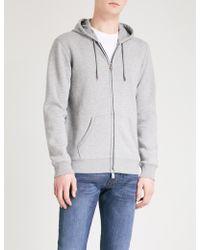 Emporio Armani Mens Grey Logo-print Jersey Hoody