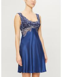 Nk Imode Nicole Lace-trimmed Satin-silk Chemise - Blue