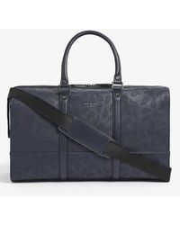 Ted Baker Paisley-print Faux-leather Holdall - Blue