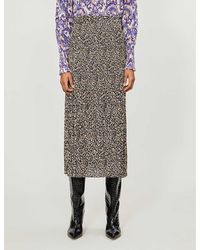 TOPSHOP Leopard Side Button Pleated Midi Skirt - Brown