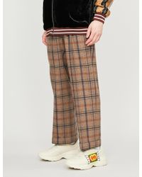 Gucci Checked Wide-leg Wool-blend Pants - Brown