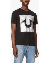 True Religion Metallic Logo-print Cotton-jersey T-shirt - Black