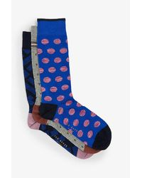 Ted Baker Assorted Stretch-cotton Socks Pack Of Three - Blue