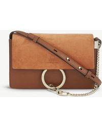 Chloé Faye Small Leather And Suede Clutch - Brown