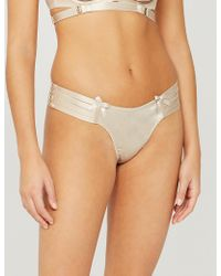 Bordelle Webbed Stretch-silk Thong - Multicolour