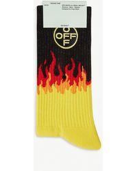 Off-White c/o Virgil Abloh Flame-print Cotton-blend Socks - Multicolour