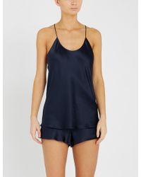 Olivia Von Halle Bella Navy Silk Pyjama Set - Blue