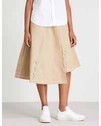 5cm - Lace-up Cotton Midi Skirt - Lyst