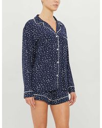 Eberjey Sleep Chic Graphic-print Stretch-jersey Pajama Set - Blue
