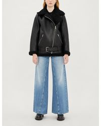 Maje Gombery Leather And Faux-shearling Jacket - Black