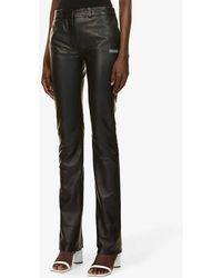 Off-White c/o Virgil Abloh Straight-leg High-rise Leather Pants - Black