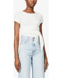 The Line By K Jeannie Belted Stretch-cotton Jersey Top - White