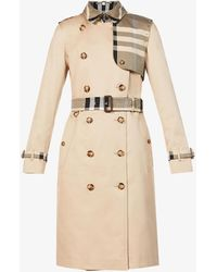 Burberry - Checked-panel Cotton Trench Coat - Lyst