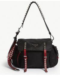 Prada - Ladies Black Studded Nylon Messenger Bag - Lyst