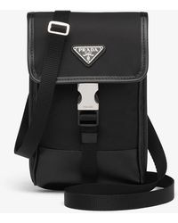 Prada Linea Rossa Brand-plaque Re-nylon And Leather Phone Case - Black