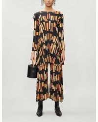 Pleats Please Issey Miyake Hopscotch Colours Printed Tunic - Brown