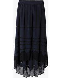 Zadig & Voltaire Joslin Lace-trimmed Silk Skirt - Blue