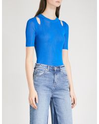 Mo&co. Cold-shoulder Ribbed Knitted Top - Blue