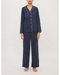 Derek Rose Plaza Polka Dot-print Cotton Pyjama Set - Blue