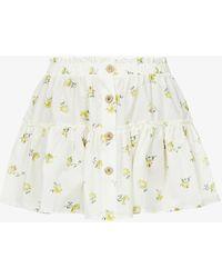 Eberjey Nostalgia Garden Nellie Floral-print High-waist Cotton Mini Skirt - Multicolour