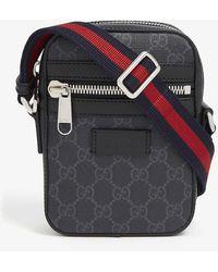 Gucci Supreme Logo Canvas Flight Bag - Black
