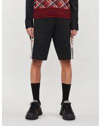 Gucci Side-stripe Logo-print Crepe Shorts - Black