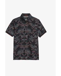 Ted Baker Floral-print Cotton Polo Shirt - Blue