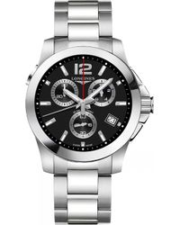 Longines - L37024566 Conquest Stainless Steel Automatic Chronograph Watch - Lyst