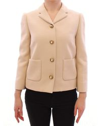 Dolce & Gabbana Beige Wool Pearl Button Jacket Blazer Coat - Natural