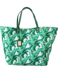 Dolce & Gabbana Green Banana Leaves Beatrice Shopping Hand Tote Bag