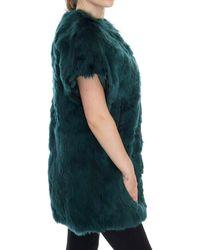 Dolce & Gabbana Alpaca Fur Vest Sleeveless Jacket Green Jkt1005