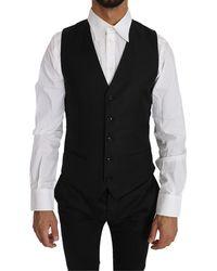 Dolce & Gabbana Solid Wool Silk Waistcoat - Black