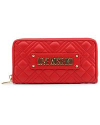 Love Moschino Red Plaque-logo Quilted Wallet