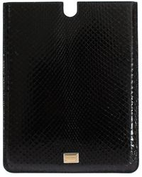 Dolce & Gabbana Black Ipad Cover Snakeskin Case