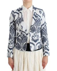 Christian Pellizzari Blue White Blazer Suit Jacket