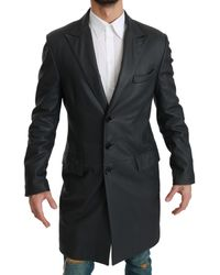 Dolce & Gabbana Leather Formal Trench Coat - Grey