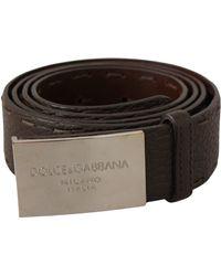 Dolce & Gabbana Brown Logo Metal Buckle Belt