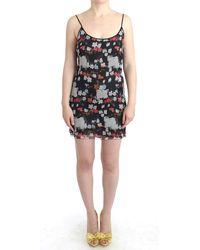 CoSTUME NATIONAL Floral Silk Mini Dress - Black