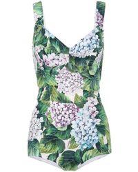 Dolce & Gabbana Romper Bodysuit Hortensia Stretch Dress - Green