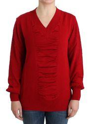 CoSTUME NATIONAL V-neck Wool Jumper Red Sig12084