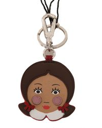 Dolce & Gabbana Brown Doll Applique Clasp Keyring Leather Keychain