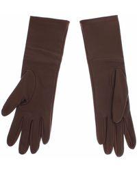 Dolce & Gabbana Leather Wrist Slim Gloves Brown Sig13112